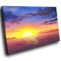 SC024 Blue Pink Sea Sunset Nature Landscape Canvas Wall Art Large Picture Prints