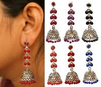 Indian Pearl Long Oxidized Silver Jhumka Earrings Bollywood Bridal Jewelry Set
