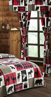 LODGE LIFE 5 pc CURTAINS BLACK BEAR MOOSE RED CHECK WINDOW PANELS VALANCE SET