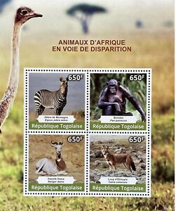 TOGO ENDANGERED AFRICAN ANIMALS STAMP SHEET 4V 2014 MNH WILD ANIMALS ZEBRA WOLF