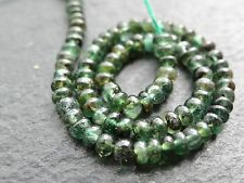 "EMERALD RONDELLES, 3mm / 3.3mm, 6"" string, 80 beads"