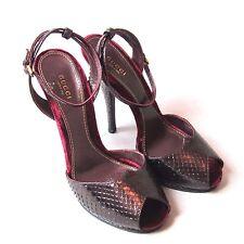 "K-GU1187 New Gucci Python Women 5"" inches Heels Open Teo 304709 Size 40 US10"