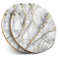 2 x Coasters - Grey White Gold Marble Effect Pattern Home Gift #24432