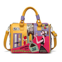 Colourful Women Embroidery Cartoon Leather Messenger Travel Handbag Shoulder Bag