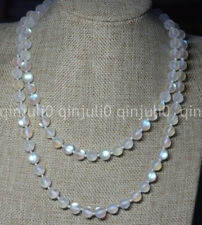 Natural 8mm White Gleamy Rainbow Moonstone Round Gems Beads Necklaces 16-64""