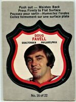 1972-73 OPC Hockey Player Crests #16 Doug Favell VG-EX Condition (P34-2020-17)