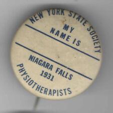 1931 pin NY State Society PHYSIOTHERAPISS Niagara Falls PHYSICAL THERAPIST badge