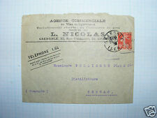B507/ ENVELOPPE NICOLAS VINS SPIRITUEUX GRENOBLE TIMBRE 10c 1906? VERS COGNAC