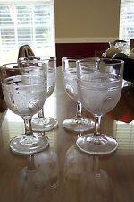 4 EAPG Boston Silver Glass Co Beaded Grape Medallion Goblet w. Band & Base Ovals