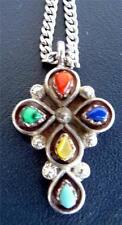 STERLING-925 NECKLACE-CHAIN&CROSS PENDANT W/SEMI-PRECIOUS STONES -14gr S-16