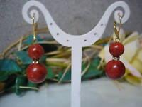 Ohrringe Creolen aus Schaumkorallen 12mm, Brisur 925er Silber vergoldet, Design