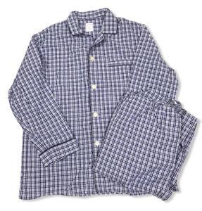 Brooks Brothers 2pc.Blue & White Plaid Long Sleeves Pajama Set 100% Cotton