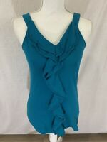 Women's Gap Sleeveless Ruffled Front Teal Summer Top Size Small