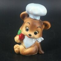 Vintage Lefton Porcelain Anthropomorphic Mouse Chef Hat Apple Figurine Japan