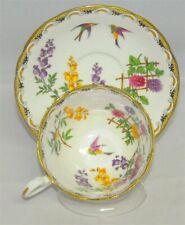 RARE Aynsley Tea Cup & Saucer Floral With Birds