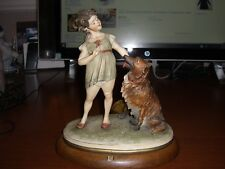 VINTAGE CAPODIMANTE BRUNO MERLI FIGURINE YOUNG GIRL WITH DOG & BOOKLET