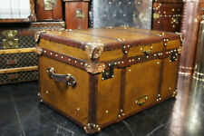 Antique Tan Leather Coffee Table Chest Trunk with leather Trim