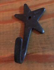 """Primitive Black Star Decorative Metal Wall Hook  2 1/2"""" Tall"""