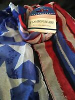 Patriotic Fashion Scarf Flag Stars Stripes Red White  Blue Neck Wrap