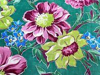 SALE! Lollipop LIME Cottage Floral Barkcloth Vintage Fabric Drape Curtain 50's