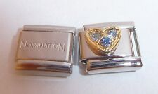 GOLD HEART BLUE GEMS 9mm Italian Charm +1x GENUINE Nomination Classic Link LOVE