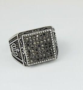 Hip Hop Fashion Men CZ Rectangle Crown Silver Titanium Stainless Steel Ring 8-12