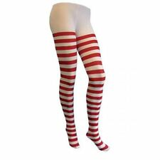 ladies red white tights striped opaque pantyhose christmas fancy dress