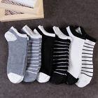 5Pair Men Cotton Sport Short Striped Ankle Socks Casual Low Cut Non-Slip Hosiery