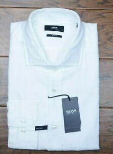 Hugo Boss Men's Igon Slim Fit Soft Line White Canclini Cotton Dress Shirt 41 16