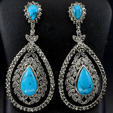 62x28mm. GORGEOUS! NATURAL MARCASIT,BLUE TURQUOISE STERLING 925 SILVER EARRINGS