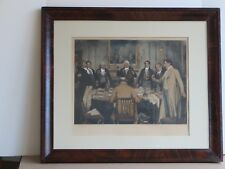 Hand Colored Etching 'Birthday Party' by W Dendy Sadler w Flaming Mahogany Frame
