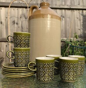 Vintage 6 Cups & 6 Saucers Green Coffee Tea Set Made In Republic Of Ireland Rush