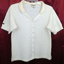 GUESS Button Down V Neck Textured Polo Shirt Top Blouse Cream Ivory Off White  S