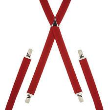 Skinny Red Trouser Braces Elastic Suspenders Handmade in England