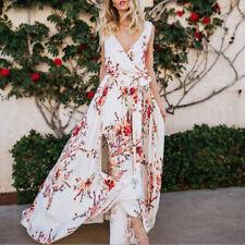 Women's V-Neck Floral Chiffon Long Dress Boho Holiday Beach Slit Maxi Dress