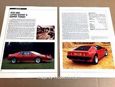 Lotus Esprit Turbo Original Car Review Print Article J669  1983 1984 1985 1986