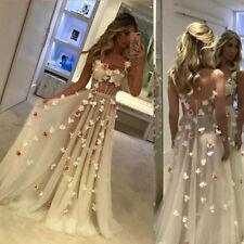 New Floral Appliques Sheer Bridal Gowns BOHO A Line Bohemian Beach Wedding Dress