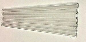 """SET BY 60 10mm x1mm x 8"""" -Long PYREX GLASS BLOWING TUBES  CLEAR"""