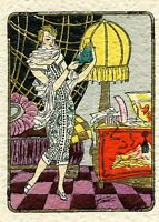 1930s French Pochoir Artdeco Print Room Scene Flapper w/ Monkey Yellow Lamp