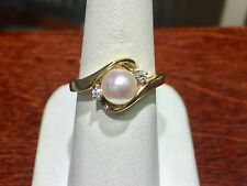 pearl and diamond 14k yellow gold ring