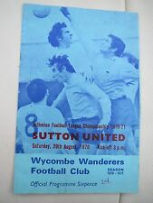 Wycombe Wanderers V Sutton United  1970/1