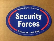 US AIR FORCE SECURITY FORCES  McGUIRE NEW JERSEY  Sticker - 4 3/4 Inch OVAL