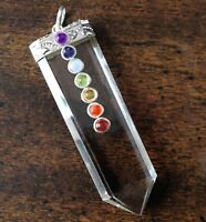 Quartz Crystal Point 7 Chakra Stone Silver Pendant Necklace Reiki Energy Healing