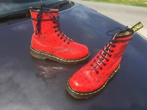 Dr Martens 1460 red textured leather boots UK 3 EU 36 England