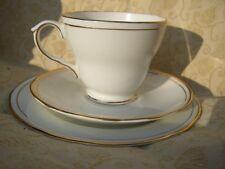 DUCHESS BONE CHINA ASCOT TEA TRIO WHITE & GOLD / GILT DECORATION