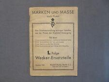 Marken und Masse nach Flume, 1.Folge Wecker - Ersatzteile, Rudolf Flume 1945
