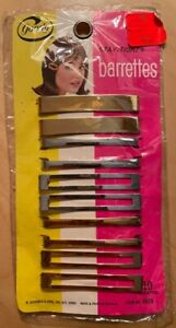 """Vintage Goody Stay-Tight 10 Barrettes 2.5"""" inches Silver Gold New NOS NIB USA"""
