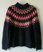 FAIR ISLE  NORDIC  TU JUMPER Sz 14  NAVY Blue Pink MUSTARD Soft Knit NEW