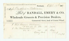 Randall Emery & Co Portland Maine Billhead 1867 Wholesale Grocers Provisions ME