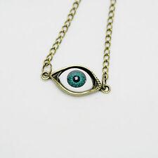 Antique Vintage Bronze Resin Blue Evil Eye Pendant Necklace Gift